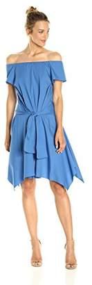 Halston Women's Short Sleeve Off Shoulder Dress with Tie Detail
