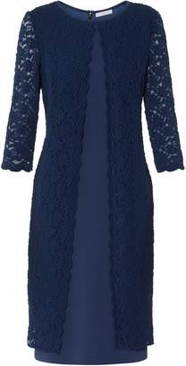 Next Womens Gina Bacconi Navy Kimora Scallop Lace Crepe Dress
