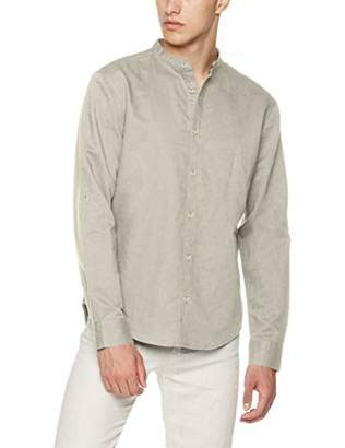 Isle Bay Linens Men's Slim-Fit Linen Cotton Blend Roll-up Long Sleeve Band Collar Woven Shirt