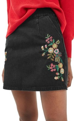 Women's Topshop Embroidered Denim A-Line Skirt $68 thestylecure.com