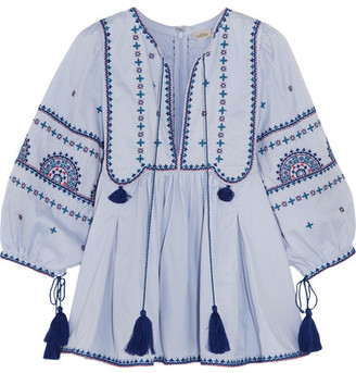 Talitha - Indian Sindhi Tasseled Embroidered Cotton Blouse - Light blue $670 thestylecure.com