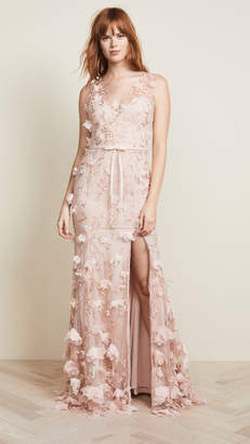 Marchesa V Neck 3D Floral Dress