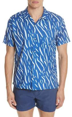 DOUBLE RAINBOUU Sound Wave Print Camp Shirt