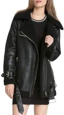 AVEC LES FILLES Faux-Shearling Trimmed Moto Jacket