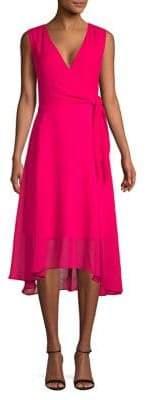 Karl Lagerfeld Paris Chiffon Self-Tie Wrap Dress