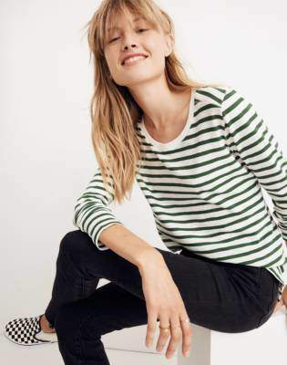 Madewell Whisper Cotton Long-Sleeve Crewneck Tee in Lomita Stripe