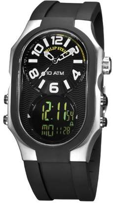 Philip Stein Teslar Men's 3RB-AD-RB Signature Black Plated Chronograph Black Rubber Strap Watch
