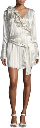 Neiman Marcus Maggie Marilyn Silk Somewhere Striped Satin Shirtdress w/ Ruffled Frills