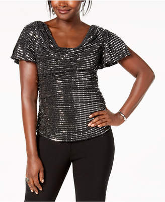 R & M Richards Sequined Ruched Blouse