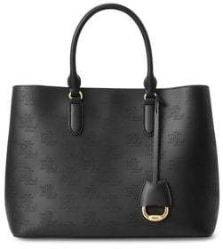 Lauren Ralph Lauren Large Perforated Leather Satchel