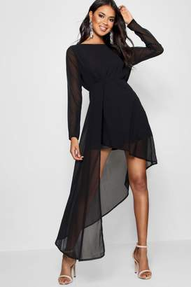 boohoo Boutique Chiffon Drape Fitted Dress