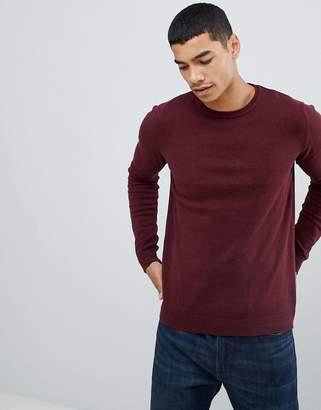 Pull&Bear Knitted Join Life Sweater In Burgundy