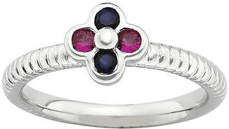 JCPenney FINE JEWELRY Personally Stackable Lab-Created Ruby & Sapphire Flower Ring