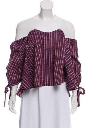 Caroline Constas Off-The-Shoulder Patterned Top