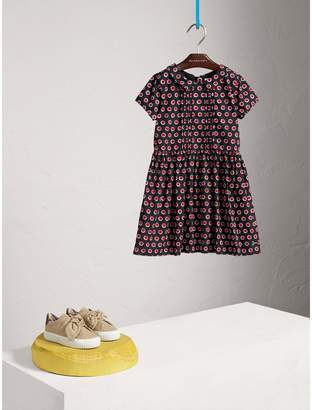 Burberry Pintuck Detail Spot Print Cotton Dress