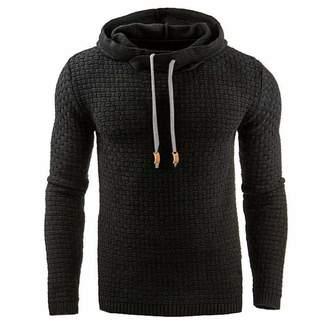 NISO p Male Long Sleeve Hoodie Men Hooded Sweatshirt Solid Color Plaid Hoodies Casual Sportswear