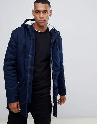 ONLY & SONS parka with fleece lined hood
