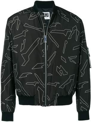 Les Hommes Urban camouflage bomber jacket