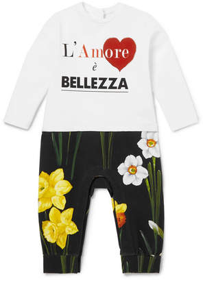 Dolce & Gabbana Months 12 - 18 Printed Cotton-jersey All-in-one