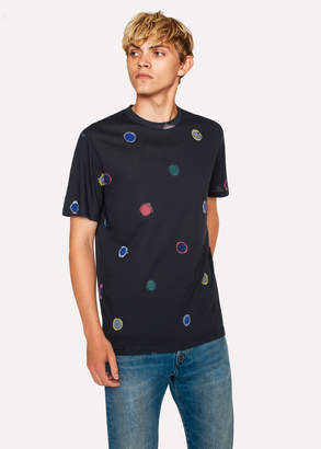 Paul Smith Men's Black 'Scribble Spot' Print Organic-Cotton T-Shirt