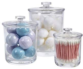 clear Premium Quality Plastic Apothecary Jars | Set of 3