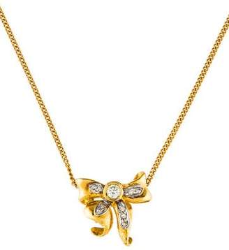 14K Diamond Bow Pendant & 18K Chain Necklace