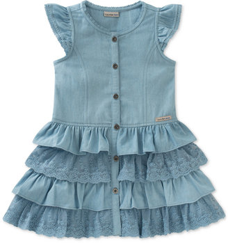 Calvin Klein Denim & Lace Ruffle Dress, Toddler & Little Girls (2T-6X) $55 thestylecure.com