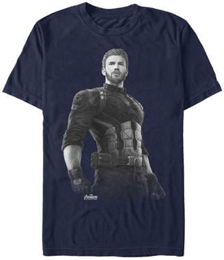 Marvel Men Avengers Infinity War Captain America String Stare Short Sleeve T-Shirt