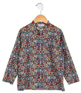 Babe & Tess Boys' Floral Print Button-Up Shirt