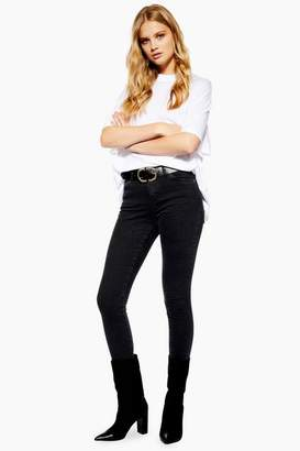 Topshop Womens Washed Black Sidney Jeans