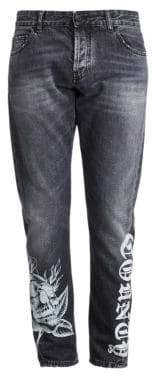 Marcelo Burlon County of Milan Men's Light Wash Skinny-Fit Jeans - Black White - Size 34