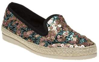 Sole New Womens Multi Metallic Zandra Textile Shoes Espadrilles Slip On