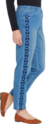 Denim & Co. Regular Soft Stretch Pull-on Ankle Jeans w/ Embroidery
