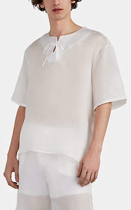 bb6a00da9db HECHO Men's Silk Organza Tieneck Tunic - White