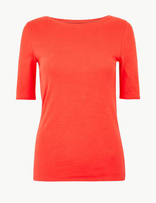 M&S Collection Pure Cotton Boat Neck Regular Fit T-Shirt