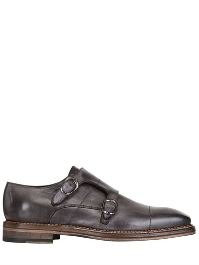 Brushed Leather Delavé Monk Strap Shoes