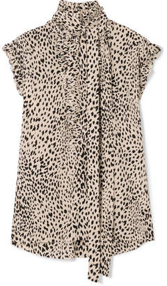 Haider Ackermann Pussy-bow Pleated Leopard-print Silk Crepe De Chine Blouse - Cream