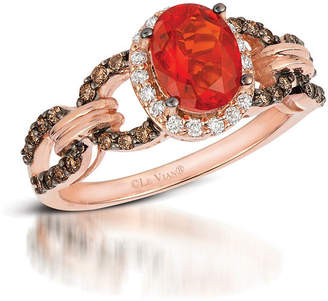 LeVian CORP Grand Sample Sale by Le Vian Neon Tangerine Fire Opal and Chocolate & Vanilla Diamonds Ring in 14k Strawberry Gold