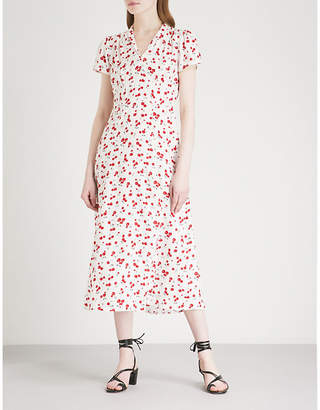 Morgan HVN cherry-print silk-satin midi dress
