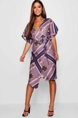 boohoo Petite Geo Scarf Print Crepe Wrap Dress