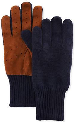 Brunello Cucinelli Men's Suede-Palm Cashmere Gloves