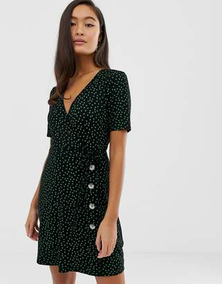 Miss Selfridge wrap dress with buttons in polka dot