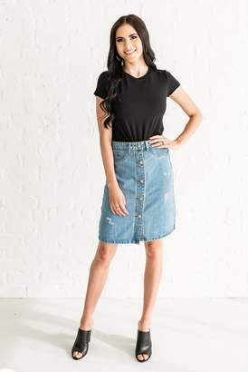 Everyday ShopRachel Parcell Button Down Denim Skirt