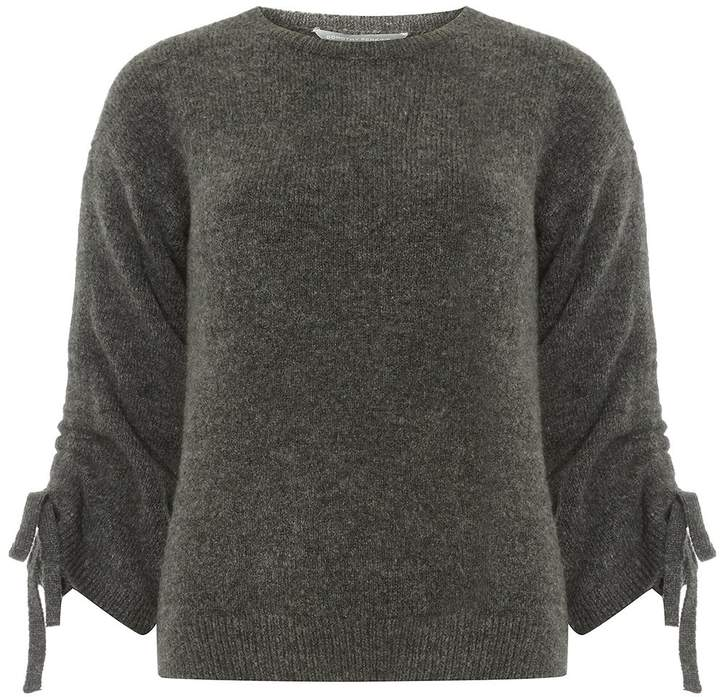 Petite Charcoal Ruched Sleeve Jumper