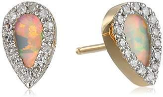 Adina Opal Diamond Teardrop Posts 14k Stud Earrings