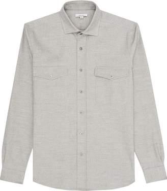 Reiss Flight - Flannel Overshirt in Grey Marl