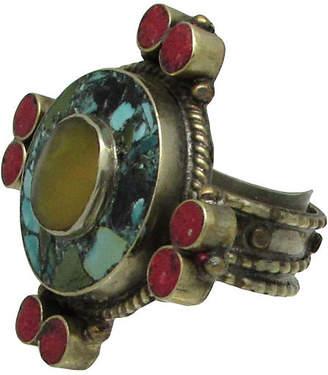 One Kings Lane Vintage Tibetan Mosaic Turquoise & Stone Ring