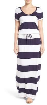 Caslon Drawstring V-Neck Jersey Maxi Dress (Regular & Petite)