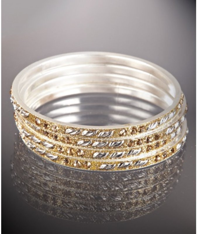 Chamak by Priya Kakkar set of 4 - gold and silver leaf bangles
