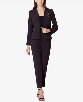 Tahari ASL Pinstriped Chain-Detail Pantsuit, Regular & Petite